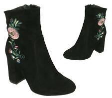 LADIES BLACK HIGH BLOCK HEEL PIXIE SUEDE EMBROIDED ZIP ANKLE BOOTS SHOES 3-8