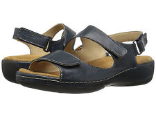 Wolky Womens LIANA Marine Blue Smooth Leather Strappy Sandals 315380