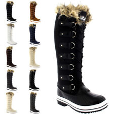Womens Fur Cuff Lace Up Rubber Sole Knee High Winter Snow Rain Shoe Boots 5-12