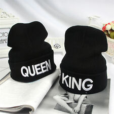 KING QUEEN Embroidery Beanie Bed Head Knit Unisex Fashion Hat Couple Gifts WB