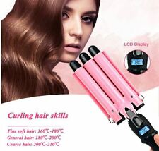 Professional hair curler Iron 3 Ceramic Barrels Clamp Curling Tongs Deep EU Plug