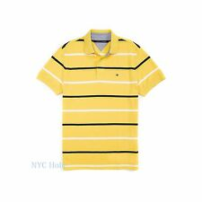 New Tommy Hilfiger Mens Polo Shirt Custom Fit Cotton Yellow Stripe NWT