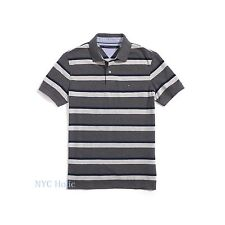 New Tommy Hilfiger Mens Polo Shirt Custom Fit Cotton Navy Grey NWT