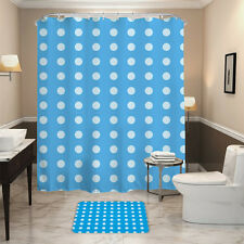 HALLO Blue Bottom White Dots Style Waterpro of Polyester Fabric Shower Curtain