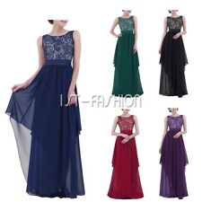 Plus Size Women Bridesmaid Evening Gown Formal Party Prom Long Lace Maxi Dress