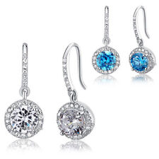 1.5 Carat Round Cut Created Diamond Dangle 925 Sterling Silver Bridal Earrings