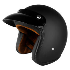3/4 Open Face Motorcycle Scooter Helmet DOT Cafe Racer Retro Vintage Flat Black