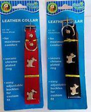 """Dog Collar Adjustable Neck 13"""" TO 16""""  NEW LEATHER Colors Paws N Claws Pet Puppy"""