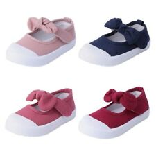 Kids Bowknot  Magic Tape Flat Canvas Shoes Candy Color Soft Sneakers New