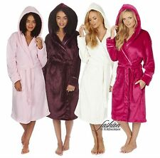 Luxury Womens Hooded Soft Fleece 3/4 Length Bath Dressing Gown Robe Nightwear