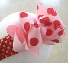 Pink Red Jumbo Dot Boutique Hair Bow BIG Double Layered