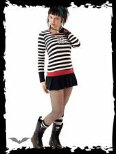 BLACK/WHITE STRIPED SHIRT GIRLY SKULL Small Queen of Darkness punk goth fashion