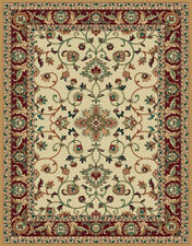 IVORY cream TRADITIONAL floral PERSIAN carpet ORIENTAL red BORDERED area RUG