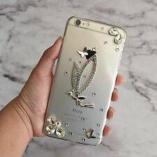 3D Luxury Handmade Bling Clear Crystal Diamond Butterfly Hard Phone Case Cover