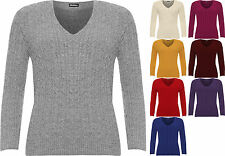 Plus Womens Cable Knitted Long Sleeve V-Neck Sweater Top Ladies Stretch Jumper