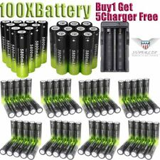 100X 18650 3.7V Batteries Rechargeable Li-ion Battery+Charger For Flashlight [+