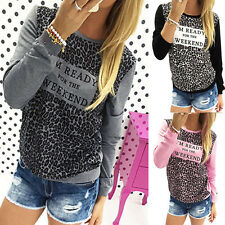 Womens Leopard Print Long Sleeve Tops Casual Loose Pullover Blouse Fashion Shirt