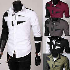 Men's Luxury Dress Shirts Top Design Long Sleeve Casual Slim Fitted T-Shirt Tops