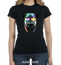 Cool Pug Fitted Shirt DJ Pug Dance Party Dog Puppy Neon JUNIORS Tee