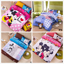 Multi Mickey & Minnie Mouse Style Print Disney Comfortable Cotton  Kids Bed Set