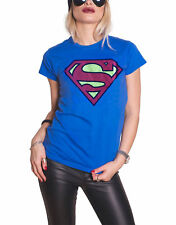 Superman T Shirt Classic Vintage Logo Official DC Comics Womens Skinny Fit Blue