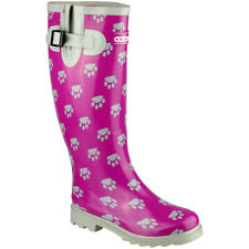 Cotswold Ladies Dog Paw Patterned Rubber Welly Wellington Boot Pink