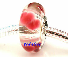925 Sterling Silver Wild Hearts Murano Glass Bead Fit European Charm Bracelet