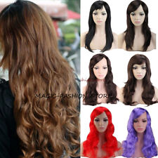 "Charm Women Full Wig 20"" Long Straight Wavy Cosplay Costume Party Wigs Red UK y7"