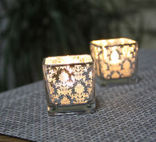 Flower Pattern Square Silver Glass Candle Holder Tea Light Romantic Candlestick