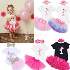 Baby Girl 1st Birthday Party Cake Outfit Dress Romper Headband Shirt Tutu Skirt