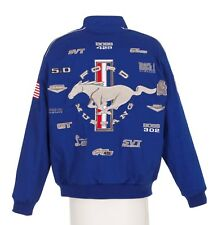 2017 Authentic Mustang Racing Collage Embroidered Cotton Jacket JH Design Blue