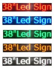 "LED Sign 38""x6.5""Red Green Blue White Amber Scrolling Programmable Message Board"