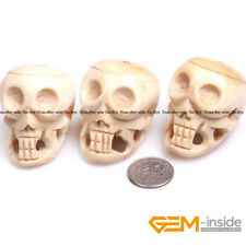 31x41mm Natural Carved Bone Skull Beads For Halloween Jewelry Making 3 Pcs