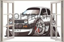 Huge 3D Koolart Window view Vw Golf Mk1 Wall Sticker Poster 2421
