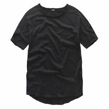 Men T-Shirt Extended Curve Hem Design Hipster Street Wear Cotton Tees Cool Shirt