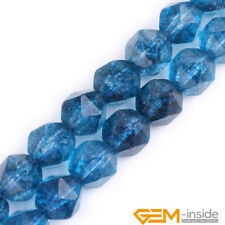 """Dyed Blue Kyanite Crystal Quartz Faceted Polygonal Beads For Jewelry Making 15"""""""