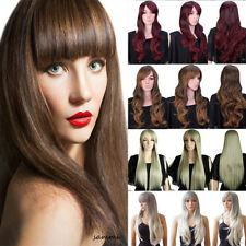 Ladies Wig Real Thick Long Cosplay Full Wigs Wavy Curly Ombre Red White Brown tk