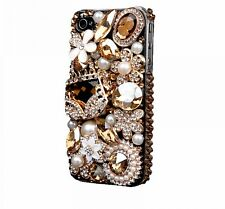 Mobile Phone Cover for iPhone 6 6s 7 plus Case Bling Gold Crystal Flower Bag