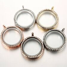 25MM Round Living Memory Floating Charm Crystal Glass Locket Pendant Necklace