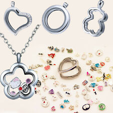 DIY Silver Living Memory Floating Charms Glass Locket Pendant Necklace Jewellery