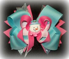 Frosty the Snowman Boutique Hair Bow Funky Hairbows Snowy Blue Pink Snow Man