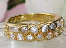 BN1072  WOMENS BEZEL DOUBLE ETERNITY  SIMULATED DIAMOND RING 18KT GOLD PLATED