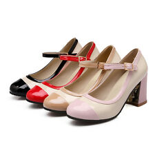 Synthetic Patent Leather Block High Heel Mary Jane Women Shoes AU All Size s881