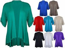 Ladies Short Sleeve Plus Size Open Waterfall Cardigan Womens Stretch Top 12 - 26