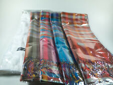 100% SILK SCARF RAINBOW PLAID SHAWL BANDANA WRAP THAI HANDICRAFT DECORATE CLOTH