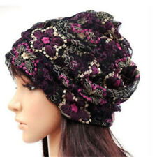 New Womens Ladies Beanie Cap Bandana Lace Turban Head Wrap Band Winter Warm Hat