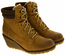 Womens s.Oliver Tan Brown Wedge Ladies Lace Up Wedges Ankle Boots Size 4 5 6 7 8