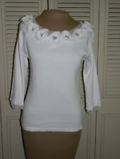 Anthropologie CORDELIA White Cotton Ribbed Top Embellished with Flowers - M