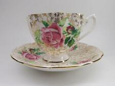 Queen anne Pink roses Golden Chintz teacup and saucer