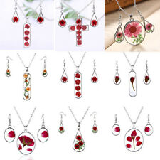 Real Natural Rose Dried Flower Glass Necklace Earrings Set Womens Jewellery New